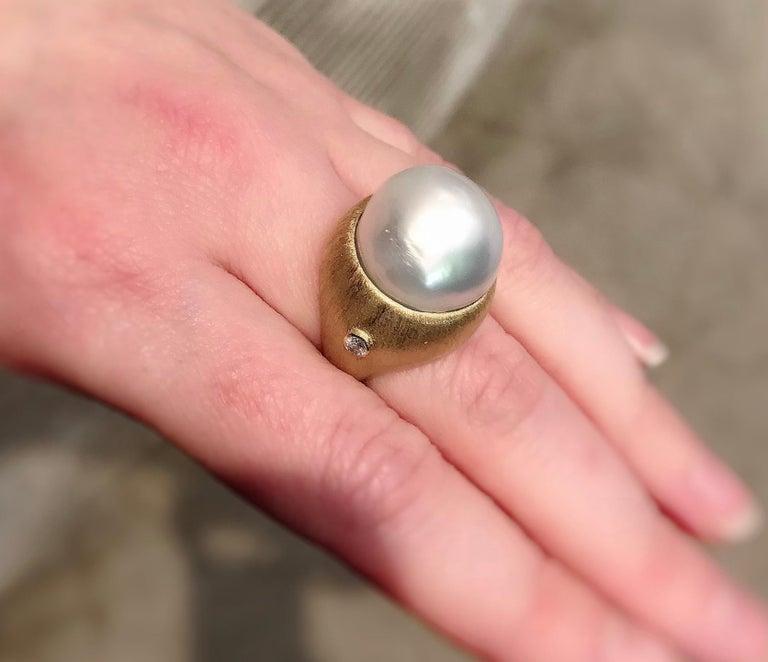 Margot McKinney 18K Brushed Finish Gold Ring with South Sea Pearl and Diamonds For Sale 1