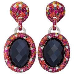 Margot McKinney 18K Gold 101.51ct Onyx Earrings with Diamonds, Rubies, Sapphires