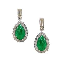 Margot McKinney 18K Gold 7.50 Carat Emerald Earrings with 2.60 Carat Diamonds