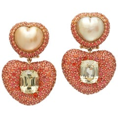 Margot McKinney 18K Gold Earrings with Lemon Quartz, South Sea Pearls, Sapphires