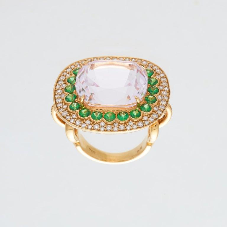 Cushion Cut Margot McKinney 18K Gold Ring 1 Pink 23.43Ct Kunzite, Tsavorites, White Diamonds For Sale