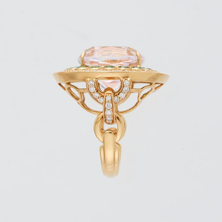 Margot McKinney 18K Gold Ring 1 Pink 23.43Ct Kunzite, Tsavorites, White Diamonds In New Condition For Sale In Brisbane AU , Queensland