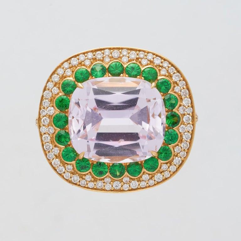 Margot McKinney 18K Gold Ring 1 Pink 23.43Ct Kunzite, Tsavorites, White Diamonds For Sale 1