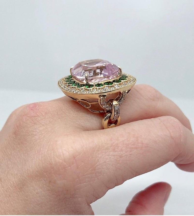 Margot McKinney 18K Gold Ring 1 Pink 23.43Ct Kunzite, Tsavorites, White Diamonds For Sale 3