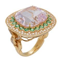 Margot McKinney 18K Gold Ring 1 Pink 23.43Ct Kunzite, Tsavorites, White Diamonds