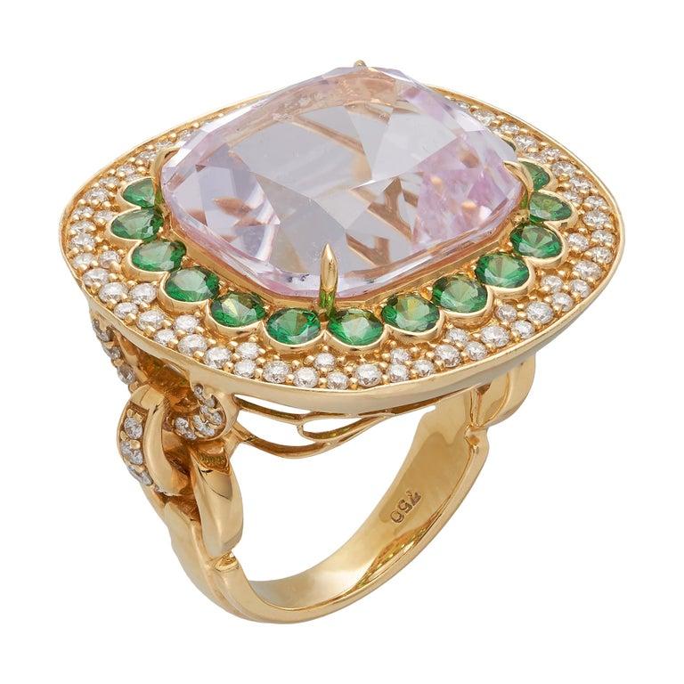 Margot McKinney 18K Gold Ring 1 Pink 23.43Ct Kunzite, Tsavorites, White Diamonds For Sale