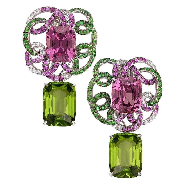 Margot McKinney 18K Gold Spinel Diamonds Tsavorites, Sapphires, Peridot Earrings For Sale