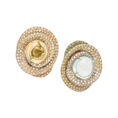 Margot McKinney 18K Green and Yellow Beryls, Diamonds, Yellow Sapphires Earrings