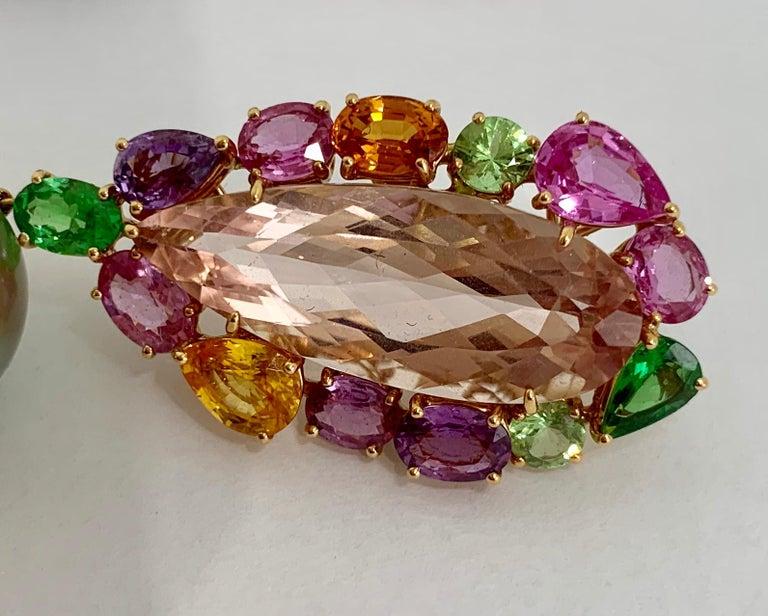 Women's Margot McKinney 18K Rose Gold Pearl Earrings with Morganite Pendant Drop 20.84ct For Sale