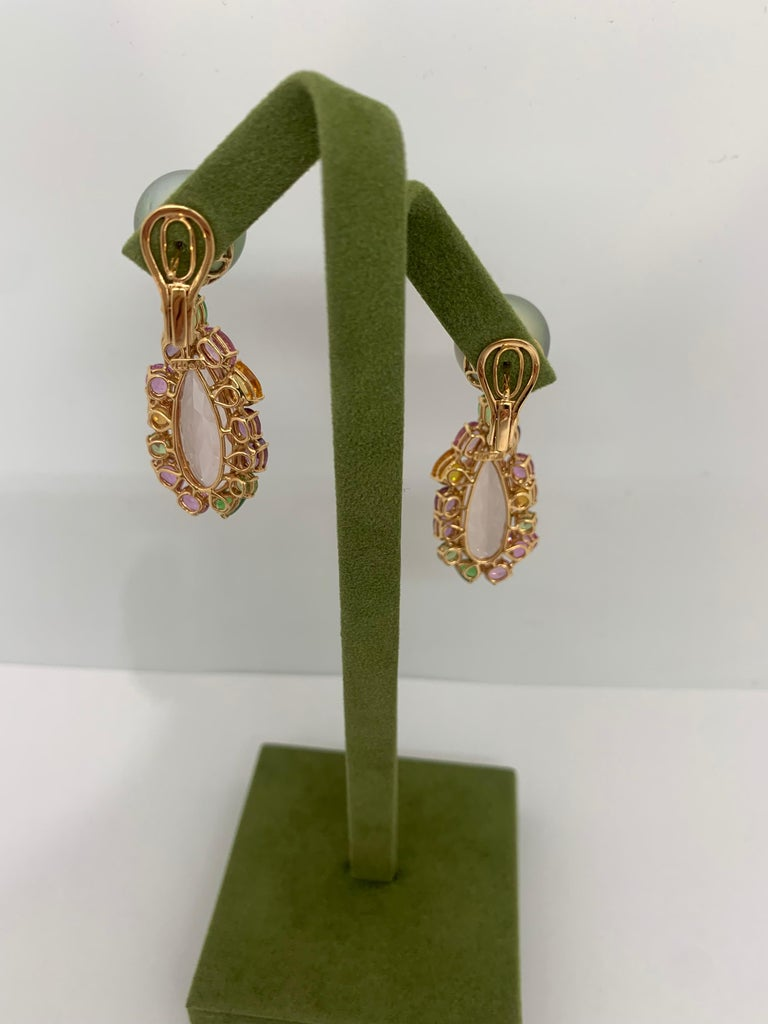 Margot McKinney 18K Rose Gold Pearl Earrings with Morganite Pendant Drop 20.84ct For Sale 2