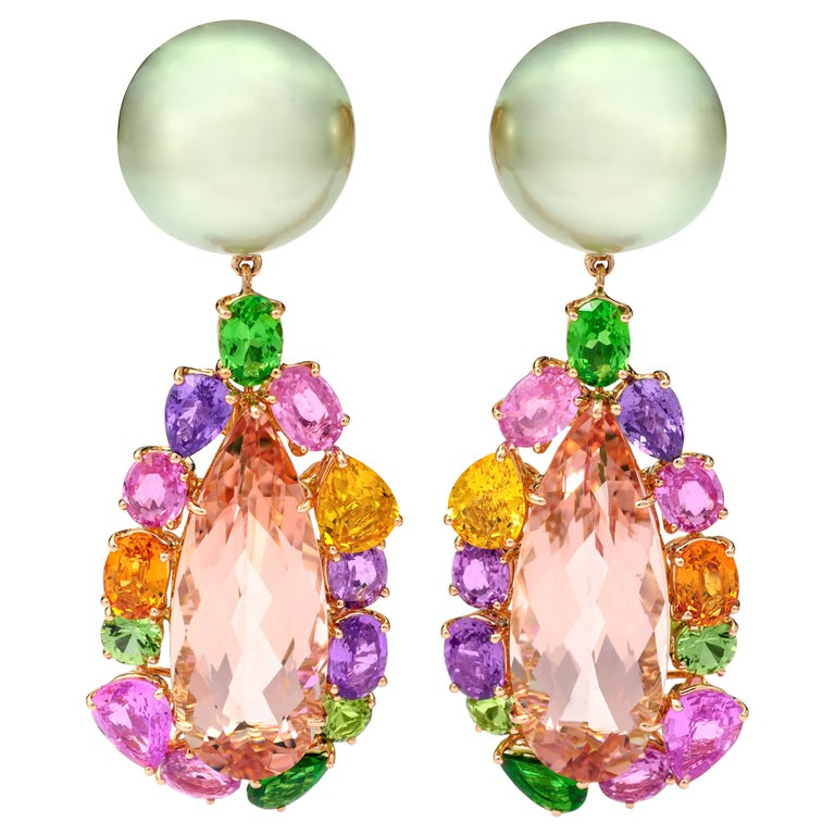 Margot McKinney 18K Rose Gold Pearl Earrings with Morganite Pendant Drop 20.84ct For Sale
