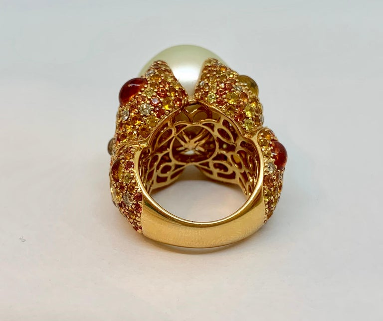 Margot McKinney 18K Gold South Sea Pearl Ring with Diamonds, Sapphires, Citrines For Sale 6
