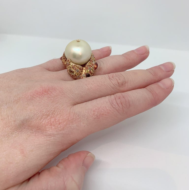 Margot McKinney 18K Gold South Sea Pearl Ring with Diamonds, Sapphires, Citrines In New Condition For Sale In Brisbane AU , Queensland