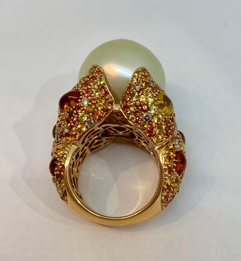 Women's Margot McKinney 18K Gold South Sea Pearl Ring with Diamonds, Sapphires, Citrines For Sale