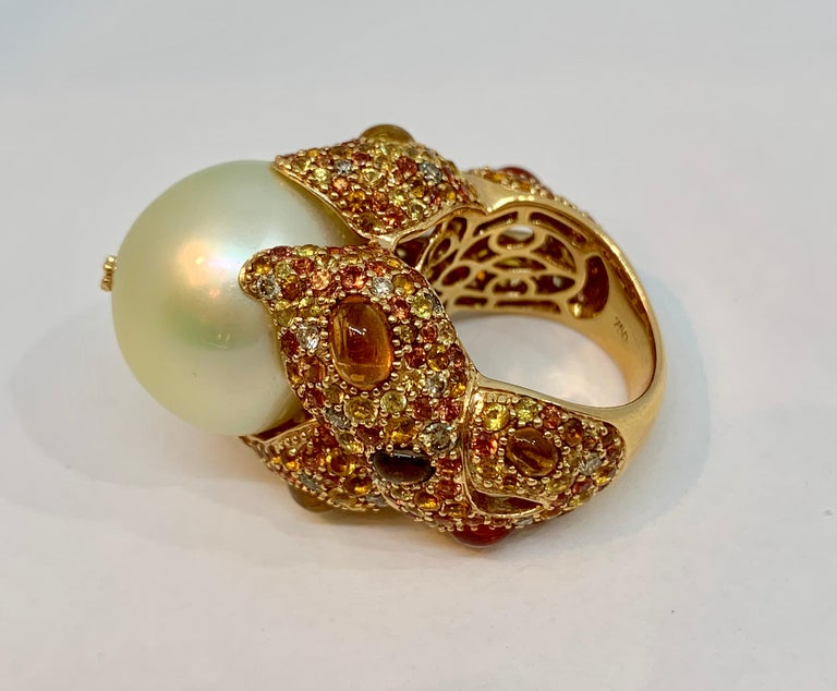 Margot McKinney 18K Gold South Sea Pearl Ring with Diamonds, Sapphires, Citrines For Sale 1