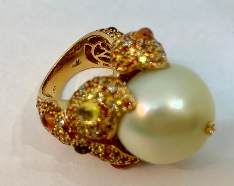 Margot McKinney 18K Gold South Sea Pearl Ring with Diamonds, Sapphires, Citrines For Sale 2