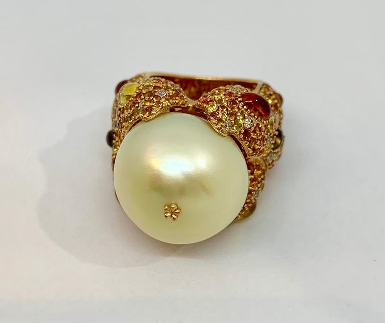 Margot McKinney 18K Gold South Sea Pearl Ring with Diamonds, Sapphires, Citrines For Sale 3