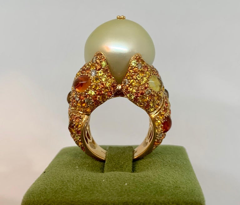 Margot McKinney 18K Gold South Sea Pearl Ring with Diamonds, Sapphires, Citrines For Sale 4