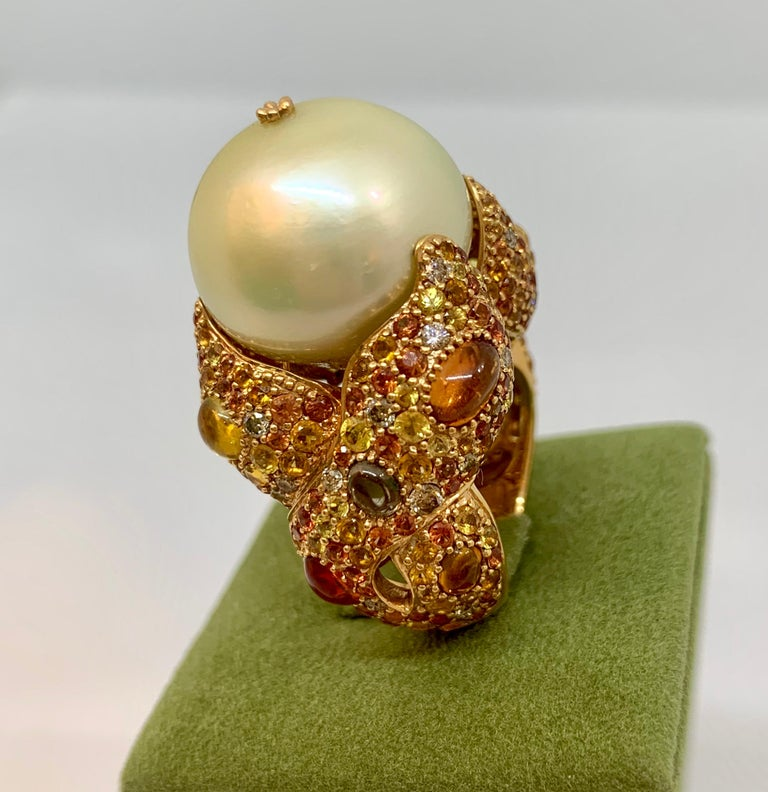 Margot McKinney 18K Gold South Sea Pearl Ring with Diamonds, Sapphires, Citrines For Sale 5