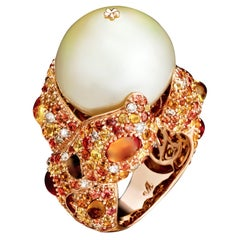 Margot McKinney 18K Gold South Sea Pearl Ring with Diamonds, Sapphires, Citrines