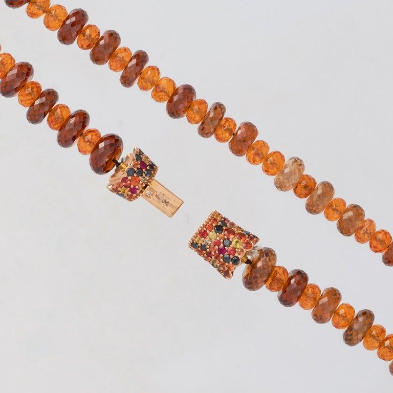 Margot McKinney 18K Rose Gold Garnet & Zircon Bead Necklace/Detachable Bracelet In New Condition For Sale In Brisbane AU , Queensland