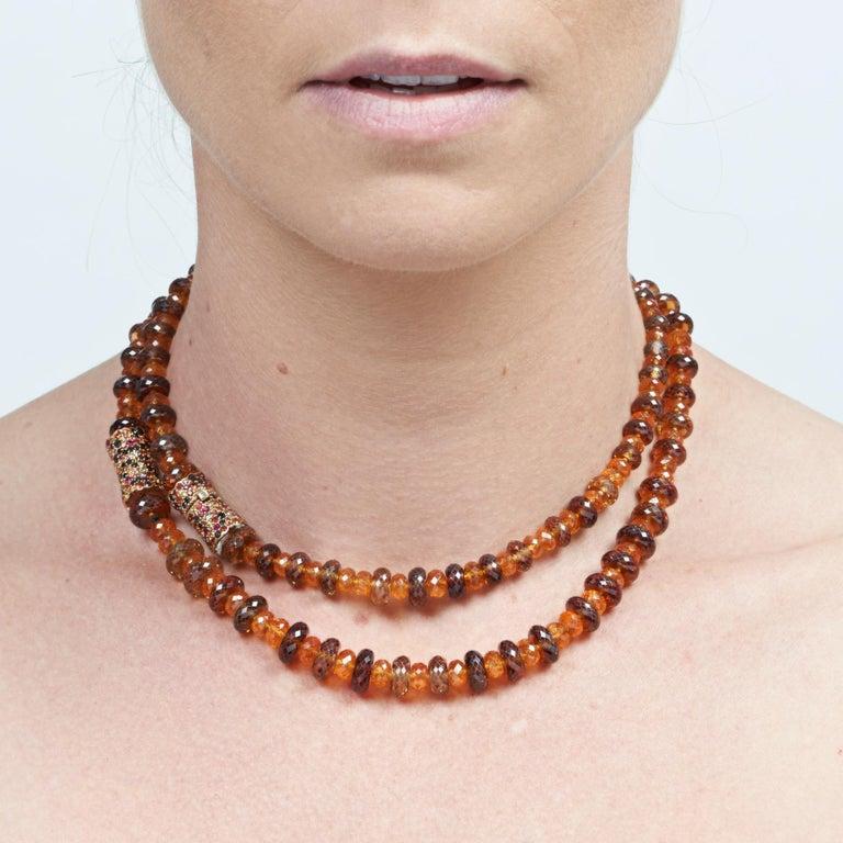 Margot McKinney 18K Rose Gold Garnet & Zircon Bead Necklace/Detachable Bracelet For Sale 2