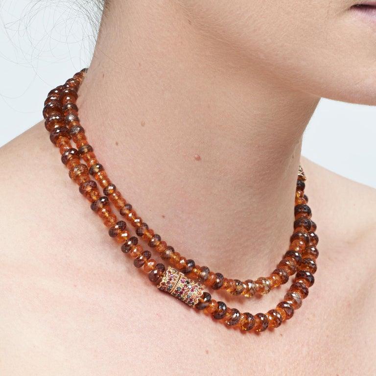 Margot McKinney 18K Rose Gold Garnet & Zircon Bead Necklace/Detachable Bracelet For Sale 3