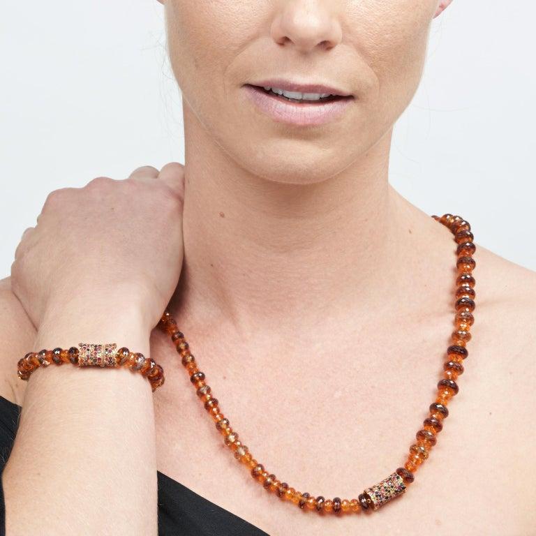 Margot McKinney 18K Rose Gold Garnet & Zircon Bead Necklace/Detachable Bracelet For Sale 4