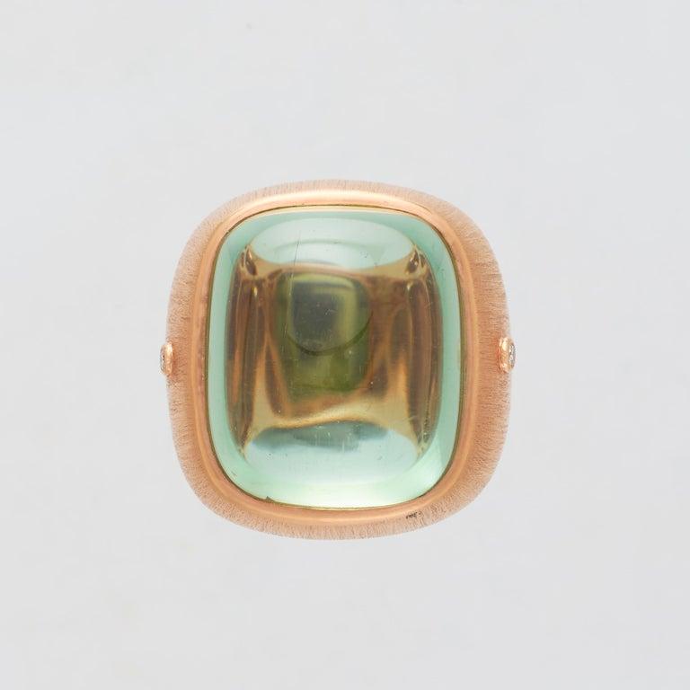 Margot McKinney 18 karat Satin Rose Gold Pale Green Tourmaline 55.81 carat Ring with 2 White Diamonds 0.06 carat.  Size US 6 1/2, UK/AU M 1/2