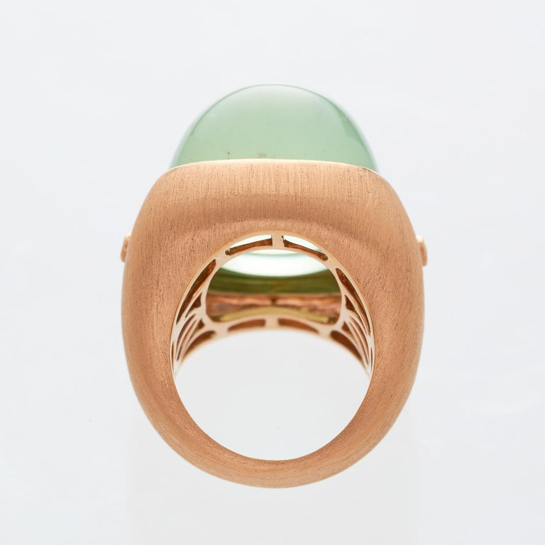 Margot McKinney 18K Rose Gold Pale Green Tourmaline 55.81ct Ring with 2 Diamonds For Sale 1