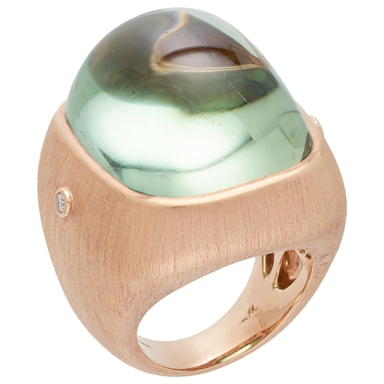 Margot McKinney 18K Rose Gold Pale Green Tourmaline 55.81ct Ring with 2 Diamonds For Sale