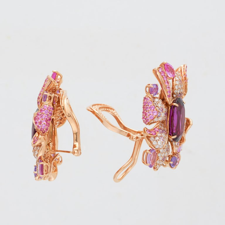 Rose Cut Margot McKinney 18 Karat Gold Umbalite Garnet, White Diamonds, Sapphire Earrings For Sale