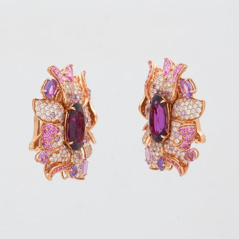 Margot McKinney 18 Karat Gold Umbalite Garnet, White Diamonds, Sapphire Earrings In New Condition For Sale In Brisbane AU , Queensland