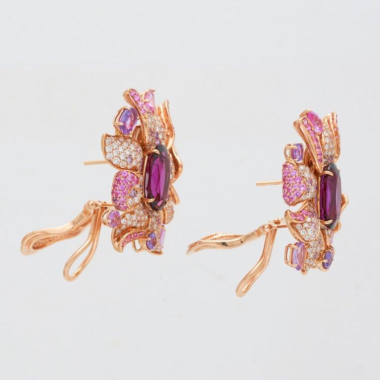 Women's Margot McKinney 18 Karat Gold Umbalite Garnet, White Diamonds, Sapphire Earrings For Sale