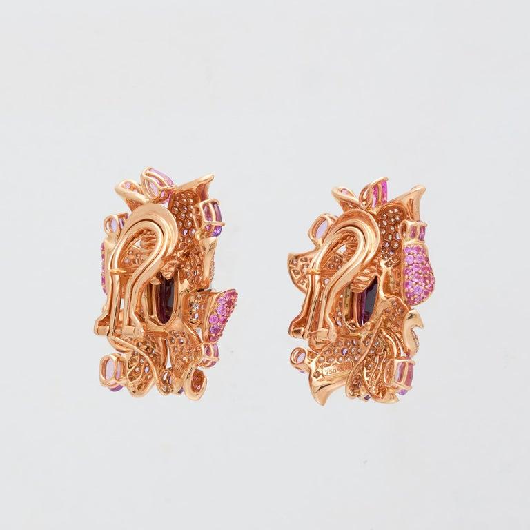 Margot McKinney 18 Karat Gold Umbalite Garnet, White Diamonds, Sapphire Earrings For Sale 1