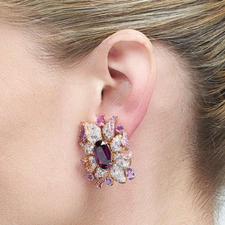 Margot McKinney 18 Karat Gold Umbalite Garnet, White Diamonds, Sapphire Earrings For Sale 2