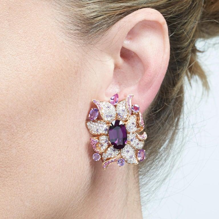 Margot McKinney 18 Karat Gold Umbalite Garnet, White Diamonds, Sapphire Earrings For Sale 3