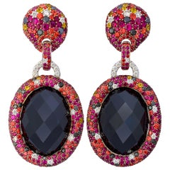 Margot McKinney 18K Gold Earrings, Oval Onyx with Diamonds, Rubies, Sapphires