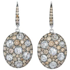 Margot McKinney 18K Gold Earrings Set with Brown Diamonds and Rose Cut Diamonds