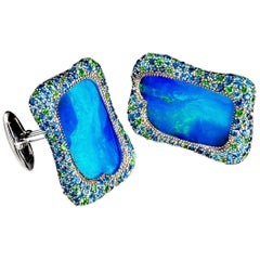 Margot McKinney 18K Gold Opal Cufflinks with Aquamarines, Sapphires, Tsavorite