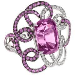 Margot McKinney 18K Gold Pink Garnet Swirl Ring with Diamonds and Pink Sapphires