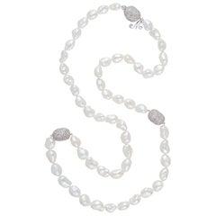 Margot McKinney 18K Gold South Sea Keshi Pearl Necklace, 3 Diamond Set Pebbles