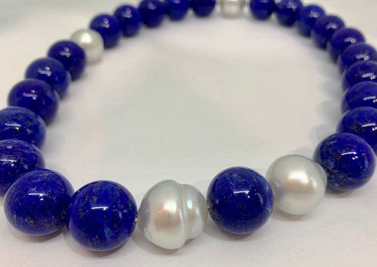 Margot McKinney 18K Gold South Sea Pearl & Lapis Necklet, Diamond in Pearl Clasp For Sale 1
