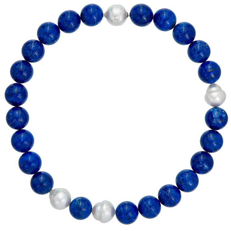 Margot McKinney 18K Gold South Sea Pearl & Lapis Necklet, Diamond in Pearl Clasp For Sale