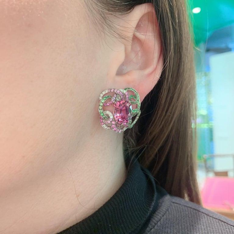 Cushion Cut Margot McKinney 18K Gold Spinel Diamonds Tsavorites, Sapphires, Peridot Earrings For Sale