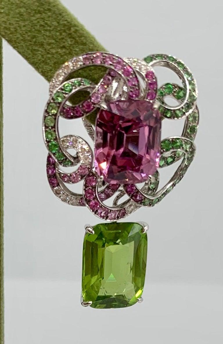 Margot McKinney 18K Gold Spinel Diamonds Tsavorites, Sapphires, Peridot Earrings For Sale 1