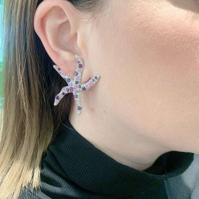 Margot McKinney 18-karat White Gold Starfish Earrings set with 34 Amethysts 3.05ct, 224 White Diamonds 5.25ct and 32 Pink Sapphires 4.25ct - clip suits both pierced and non-pierced ears.