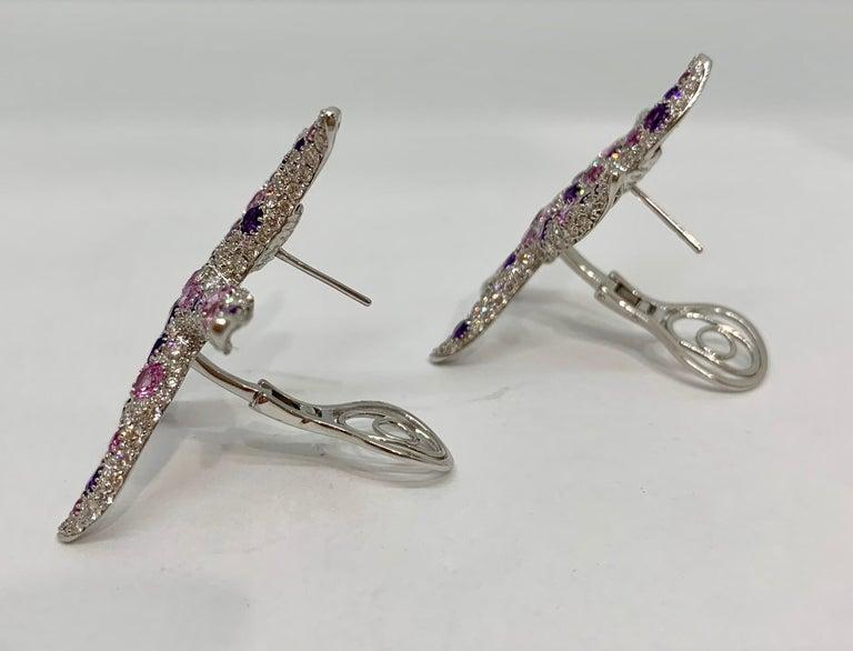 Women's Margot McKinney 18k Gold Starfish Earrings with Amethysts, Diamonds, Sapphires For Sale