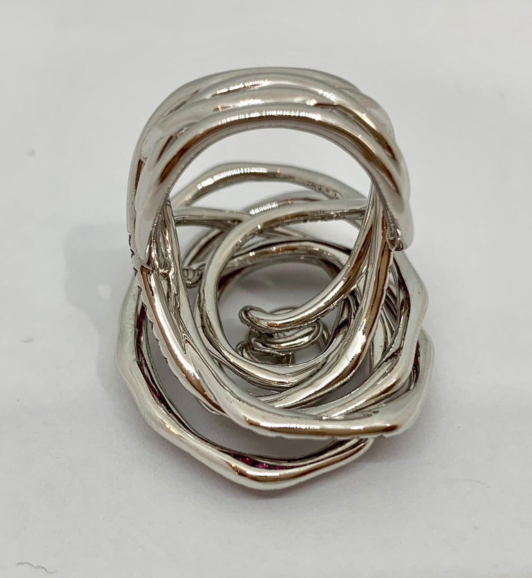 Margot McKinney 18K Gold Swirl Ring Set with White Diamonds and Pink Sapphires For Sale 6
