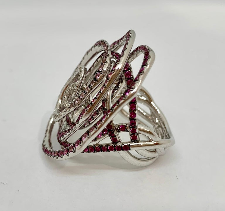Margot McKinney 18K Gold Swirl Ring Set with White Diamonds and Pink Sapphires For Sale 2